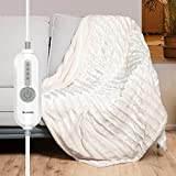 WOOMER Electric Heated Throw Blanket, Soft Faux Fur Fast Heating Blanket, 5 Year Warranty, 4 Heating Levels & 4 Hours Auto Off (50'x 60'), Machine Washable, Over-Heat Protection