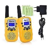 Upgrow RT-388 Walkie Talkie Funkgerät für Kinder mit Wiederaufladbaren Akkus, Kinder Funkgerät Funkhandy, 8 Kanäle mit LCD, Reichweite 3 Km(Gelb)