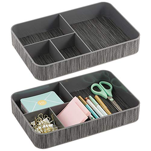 mDesign Plastic Divided Drawer Organizer Tray for Home Office Desk Drawer Shelf Closet - Holds Highlighters Pens Scissors Adhesive Tape Paper Clips Note Pads - 4 Sections 2 Pack - GrayBlack