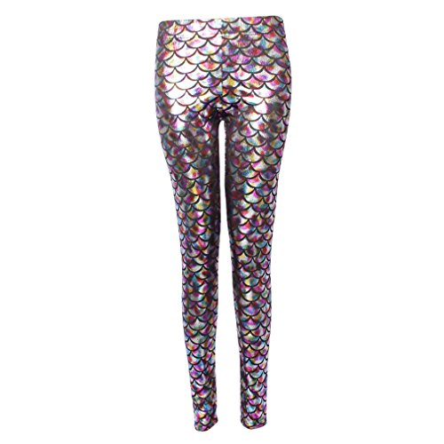hibote Sexy Mermaid Fish Scale Hologram Stretch Soft Shine Leggings Donna ML-2001 S