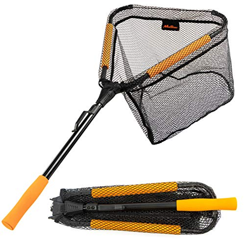MoiShow Floating Fishing Net - Rubber Coated Mesh Fishing Landing Net, Foldable Fishing Net for Freshwater or Saltwater - Telescopic Folding Fishing Net and Fly Fishing net …