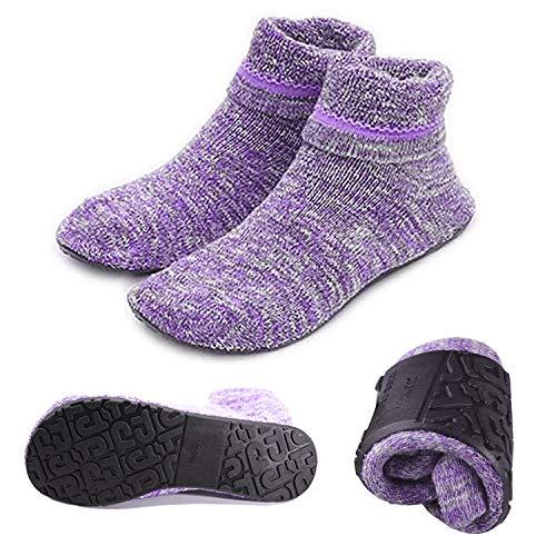 AIYUE, Hausschuhe für Damen, Pantoffeln, rutschfeste Socken mit Gummisohle, Violett Large