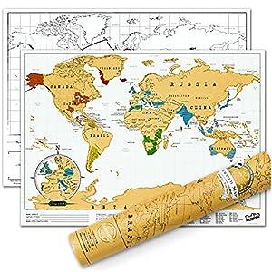 Luckies Mapamundi para rascar, edición de Viaje, tisú Laminado, cartón, Hoja Coloreada, Multicolor, 42 x 29.7 cm