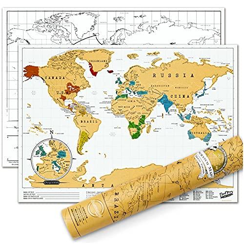 Luckies of London Scratch Map Travel Edition – Mappa del mondo da grattare in formato ridotto – Poster da viaggio personalizzabile – Fabbricata nel Regno Unito