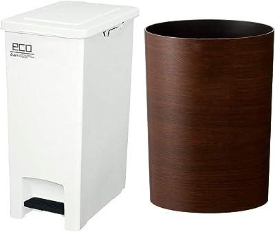アスベル エバンペダルペール45L SD ホワイト & 木目調ゴミ箱S 「ルクレールコレクション」 4.7L ブラウン【セット買い】