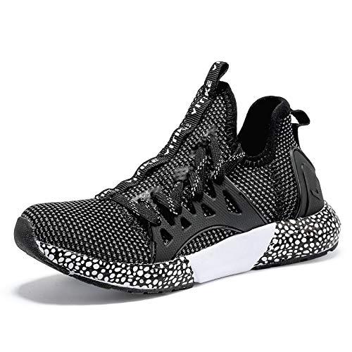 WETIKE Jungen Sneaker Sportschuhe Hallenschuhe Kinder Mesh Atmungsaktiv Laufschuhe (31EU-40EU) für Unisex-Kinder schwarz 37 EU