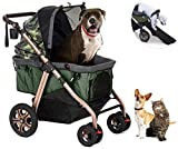 HPZ Pet Rover Titan-HD Premium Super-Sized Dog/Cat/Pet Stroller SUV Travel Carriage/w Access Ramp/100Lbs Capacity/Pumpless Rubber Wheels/Aluminum Frame for Small, Med, Large, XL Pets (Green Camo)