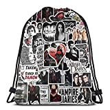 Vampire Diaries Drawstring Backpack Gym Sack Pack Style String Bag With Pocket Canvas Sinch Sack Sport Cinch Pack Bags Beach Rucksack
