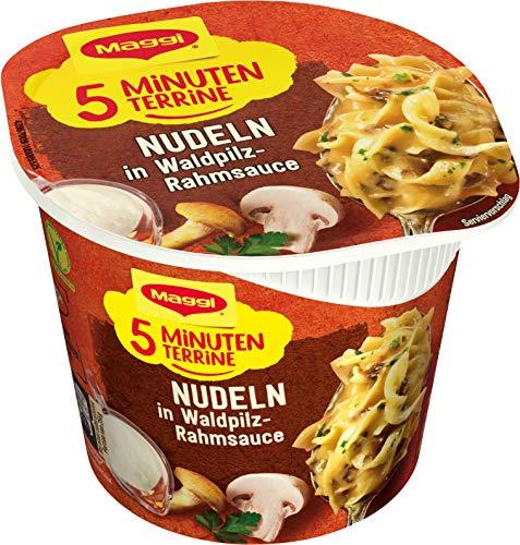 Maggi 5 Minuten Terrine Nudeln in Waldpilzrahmsauce, leckeres Fertiggericht, Instant-Nudeln, mit Pilzen, 1er Pack (1 x 56g)