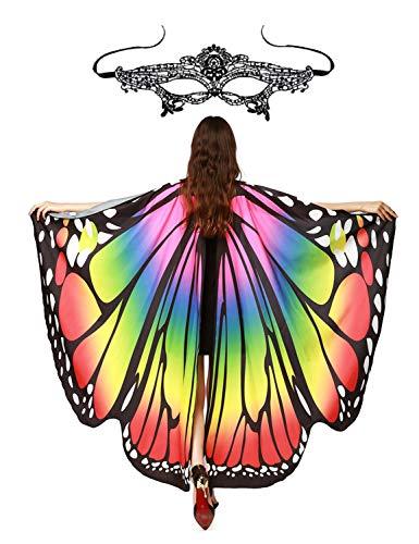 Schmetterling Kostüm Frauen Schmetterlingsflügel -Kostümzubehör Poncho Umhang Mit Masquerade Masks für Cosplay Show Daily Party Karneval Fasching Fasnacht Halloween Weihnachten (Regenbogen 1)