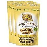 Crazy Go Nuts Walnuts - Banana, 4.5 oz (3-Pack) - Healthy Snacks, Vegan, Gluten Free, Superfood - Natural, Non-GMO, ALA, Omega 3 Fatty Acids, Good Fats, and Antioxidants