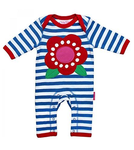 Toby Tiger - Body Mixte bébé Sleepsuit Applique Flower - Bleu (Blue/White) - 3 mois