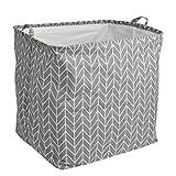 FOCCTS Cesta de almacenamiento de tela de algodón y lino de 100 litros, plegable, redonda, impermeable, con asas de tapa para dormitorio, baño, plantas acuáticas