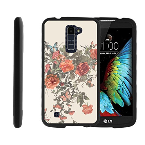 Compatible with LG K10 Case (2016) | LG Premier Case [Slim Duo] Ultra Slim Matte Hard 2 Piece Cover Compact on Black by TurtleArmor - Elegant Roses