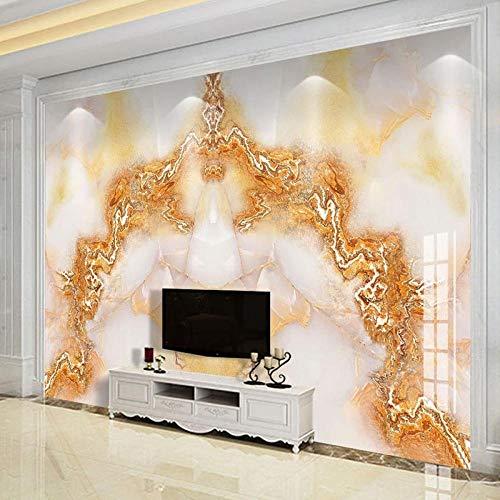 YIERLIFE 3D Pintura Mural Adhesivo Pared - Estilo Europeo Jade Dorado Mármol - 3D Papel Pintado Pared Fotomurales Tejido No Tejido Foto Mural Moderna Diseño Murales Fotográfico Póster Salón Dormitorio
