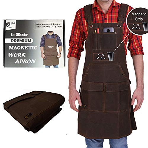 Woodworking Aprons for Men, Gift for Woodworkers, 16 OZ Heavy Duty Waxed Canvas Work Apron with Pockets, Magnetic Strip, Waterproof, Padded Straps, Adjustable From Size S to XXL