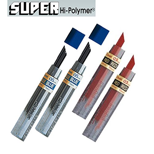 Pentel Lead Refills 0.5mm RED (2pcs.) + Blue (2pcs.), 12 Leads per Tube