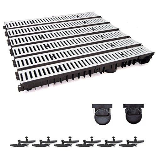 6m Entwässerungsrinne mit Dichtung Tiefe: 100 mm. Belastungsklasse A15. Stahlrost verzink.