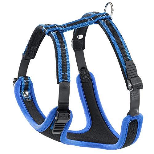 Ferplast 75464939 Geschirr mit Polsterung ERGOCOMFORT M, für Hunde, Halsumfang: 37-47 cm, Brustumfang: 55-65 cm, blau