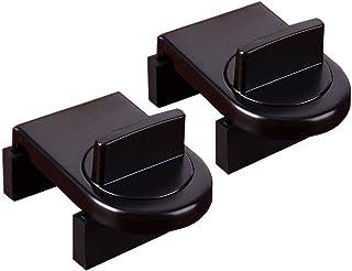 Adjustable Door Window Safety Lock Sliding Sash Stopper Cabinet Locks Straps Security Anti-Theft Lock for Kids (Black)2 Pack