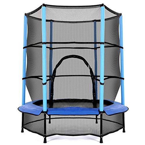 """Bofa 55"""" Trampoline for Kids, 5ft Mini Toddler Trampoline with Enclosure Net and Safety Pad, Bulit-in Zipper Heavy Duty Frame Kids Trampoline for Indoor Outdoor, Gifts for Boy and Girl (Blue)"""