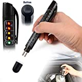 Hete-Supply Testeur de liquide de frein, outil de diagnostic automobile avec 5 mini indicateurs LED calibrés pour le liquide de frein DOT4, DOT5