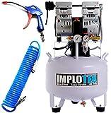 Compresor silencioso, 850 W, 55 dB, silencioso, sin aceite, incluye pistola de soplado y manguera de aire comprimido Impotex