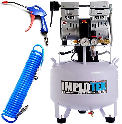 850W Silent Flüsterkompressor Druckluftkompressor 55dB leise ölfrei Kompressor inkl. Ausblaspistole und Druckluftschlauch IMPLOTEX