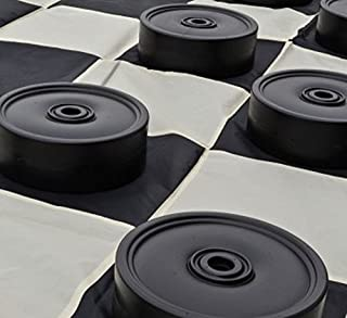 MegaChess Garden Checkers Set and Garden Checkers Mat - Checkers are 4 inches Wide
