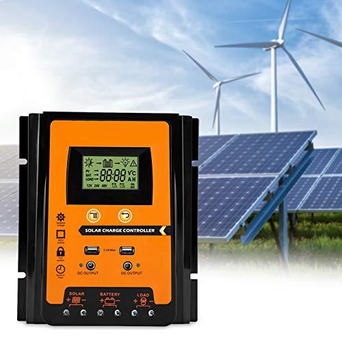 MPPT Controlador de carga solar 12v/24v 30A/50A/70A Panel solar Regulador de batería Controlador de carga Dual USB Pantalla LCD Controlador del cargador de batería de energía solar(70A)