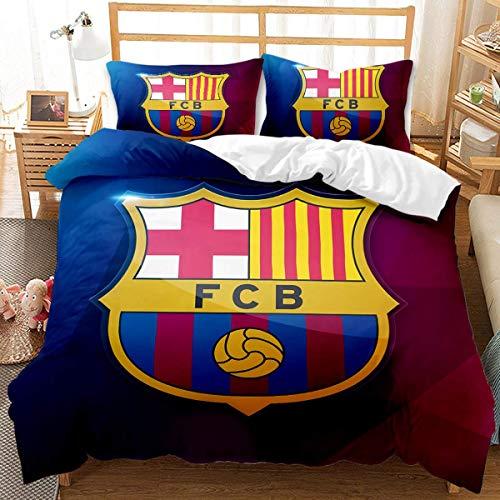 QWAS FC Barcelona - Juego de cama (3 piezas, 1,200 x 200 cm + 50 x 75 cm x 2), diseño del equipo FC Barcelona