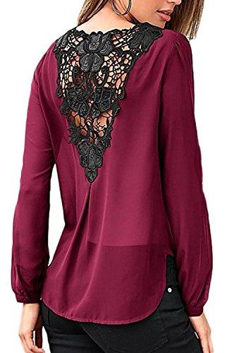 Minetom Mujeres Blusas con Manga Larga V Cuello La Gasa Encaje Camisa Blouses Pullover Tunica OL Sólido Color T Shirt Vino Rojo ES 38