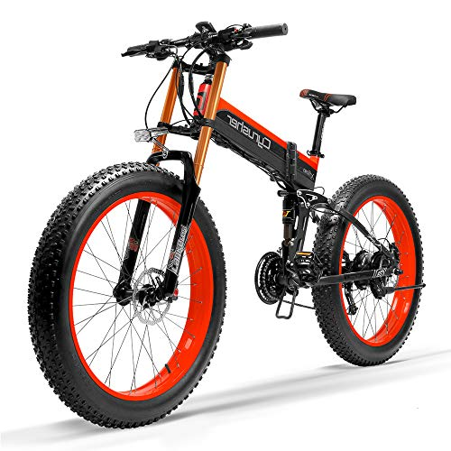 Cyrusher XF690 Motorcycle Style Electric Bike 750W Bafang Motor 7 Speeds Fat Tire Mountain Bike for Adults Full Suspension Hydraulic Disc Brakes with 12.8Ah Lithium Battery(Red)
