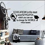 Zdklfm69 Adhesivos Pared Pegatinas de Pared La educación es el Arma más poderosa Vinilo extraíble Aula Decoración Escolar Cita inspiradora 57x125cm