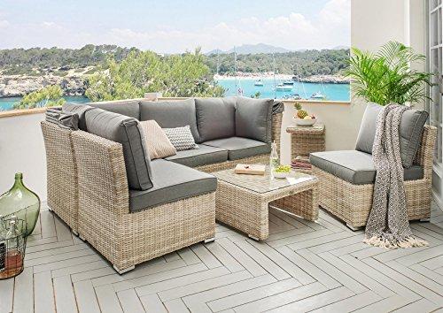 Destiny Lounge Loungegruppe Aruba Sitzgruppe Sofaset Faltdach Polyrattan - 9
