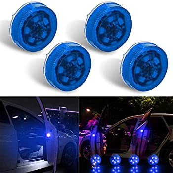 Botepon 4PCS Universal Wireless Car Door LED Warning Light Safety Light Strobe Lights for Anti rear-end Collision  Blue