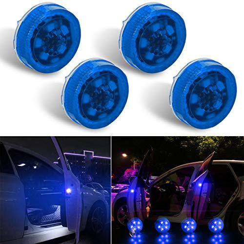 Botepon 4PCS Universal Wireless Car Door LED Warning Light, Safety Light, Strobe Lights for Anti rear-end Collision (Blue)