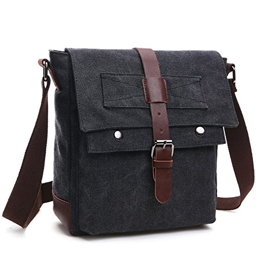 LOSMILE Shoulder Bag, Men's Messenger Bags, Vintage Military Canvas Bag for Work Travel and School.(Black)