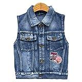 Girls Denim Vest Spring Autumn Sequins Vest Coat(Fox,6-7Years)