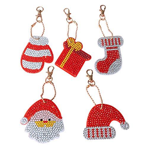 Hztyyier 5pcs DIY Key Chains 5D Diamond Painting Ornaments Kits for Bag Purse Handbag Charms Pendant Gift