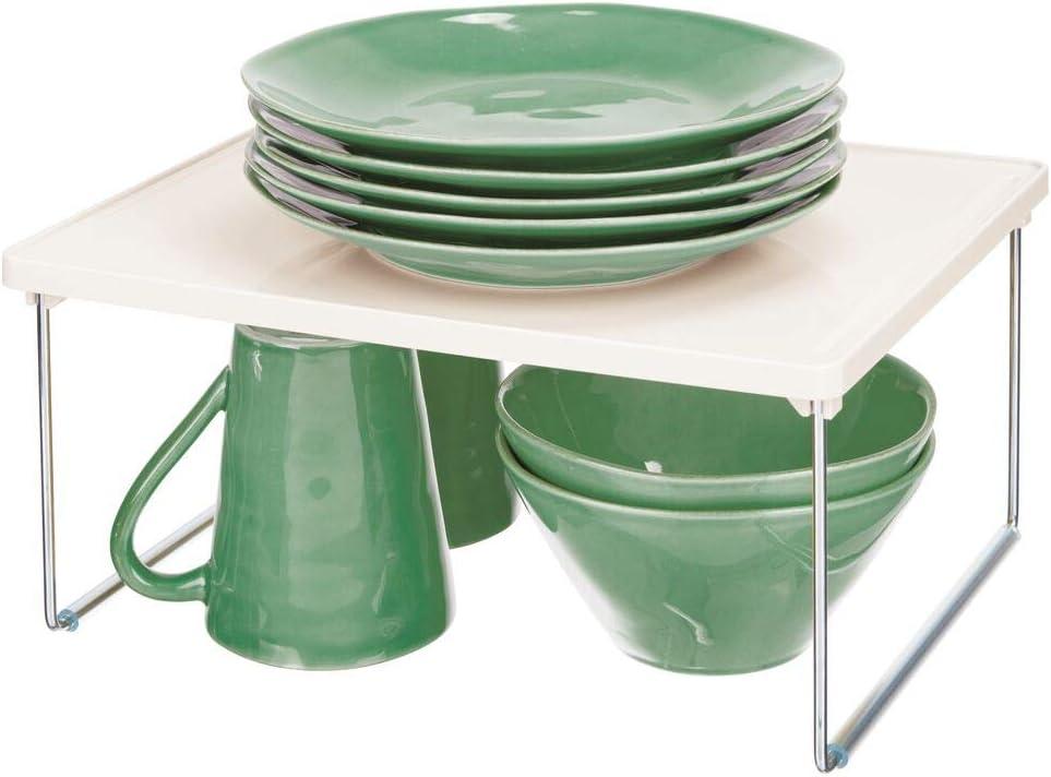 Metall mDesign K/üchenregal aus Kunststoff 4 St/ück Pack of 4 cremefarben