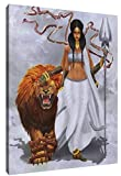 Genwo11jiusi African American Braids Women and Beast Wall Art Paintings Prints On Canvas Framed for Living Room Bedroom Home Decor Artwork Pictures