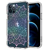 MOSNOVO Rainbow Henna Mandala Floral Pattern Designed for iPhone 12 Case 6.1 Inch/Designed for iPhone 12 Pro Case 6.1 Inch,Clear Case with Design Girls Women, TPU Bumper with Hard Case Cover