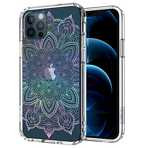 MOSNOVO iPhone 12 Pro Case, iPhone 12 Case, Rainbow Henna Mandala Pattern Clear Design Transparent Plastic Hard Back Case with TPU Bumper Case Cover for iPhone 12 Pro/iPhone 12 6.1 Inch