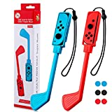 Club de Golf Accessoires Compatible avec Nintendo Switch Joy-Con Jeux de Mario Golf Super Rush - Lot de 2 + 6 Capuchons de Protection pour Bouton de Joy-Cons
