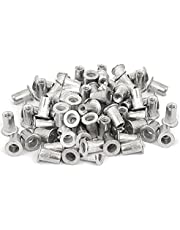 Veda 50 piezas de tuerca de remache de aluminio roscado M4 tuercas insertadas 4