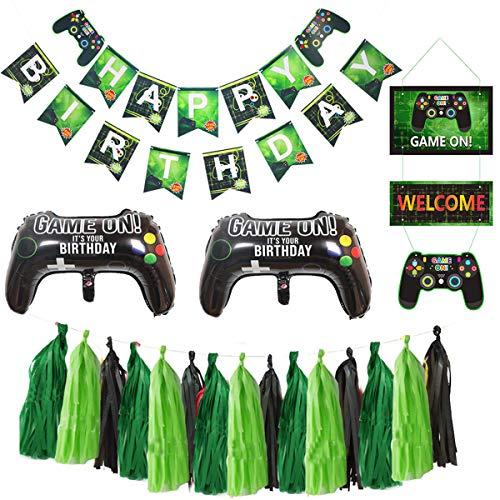 MIFIRE Videospiel Party Zubehör Set mit Geburtstag Gaming Banner, Folienballon, Hängende Luftballons Spiel Party Deko für Kinder Jungen Geburtstagsfeier