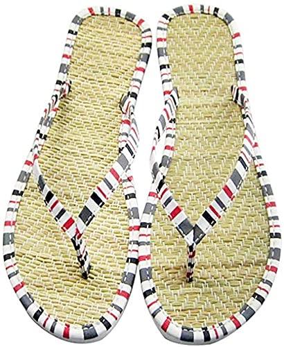 Pantoufles en lin, faites maison, tapis de bambou doux, dessous doux, chaussons de plage respirants, pour femme, homme et femme, simples et faciles