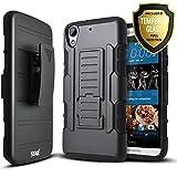 STARSHOP Dual Layer Locking Belt Clip Kickstand Case with [Premium HD Screen Protector] for HTC Desire 626 / HTC Desire 626S- Black