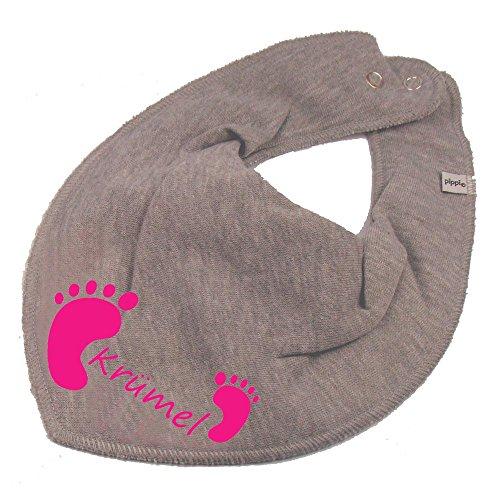 Elefantasie Elefantasie HALSTUCH Füßchen mit Namen oder Text personalisiert grau für Baby oder Kind